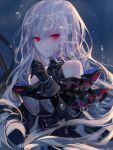 1girl arknights artist_name bangs bare_shoulders black_gloves breasts commentary_request gloves hand_up highres long_hair looking_at_viewer medium_breasts no_hat no_headwear red_eyes sheya signature silver_hair skadi_(arknights) solo upper_body