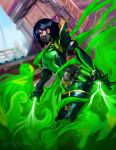 1girl asymmetrical_hair black_hair bodysuit boots breasts commentary day dutch_angle english_commentary glowing green_bodysuit green_eyes green_footwear green_smoke highres mask medium_breasts mouth_mask revision rhydwyn short_hair skin_tight smoke solo thigh-highs thigh_boots valorant viper_(valorant)