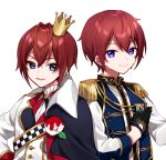 2boys bangs black_gloves black_jacket blue_eyes blue_vest brown_hair closed_mouth commentary_request crossover crown ensemble_stars! epaulettes eyebrows_visible_through_hair gloves hair_between_eyes half_gloves jacket long_sleeves look-alike looking_at_viewer male_focus mini_crown multiple_boys parted_lips riddle_rosehearts shirt simple_background smile suou_tsukasa tilted_headwear twisted_wonderland upper_body vest violet_eyes white_background white_shirt yamabukiiro