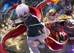 black_sclera black_shirt blonde_hair blurry blurry_background car character_request commentary_request crossover destruction driving ground_vehicle gun hair_over_one_eye highres holding holding_gun holding_weapon hood hood_up horse_mask kagune_(tokyo_ghoul) kaneki_ken knives_out long_hair looking_at_viewer male_focus mask motor_vehicle mouth_mask multiple_boys multiple_girls nail_polish one_eye_covered red_eyes running shirt short_hair tcb tokyo_ghoul weapon weapon_request white_hair wrist_cuffs