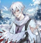 1boy blue_eyes blue_sky clouds cold hair_between_eyes heterochromia highres horns jewelry kengatoki male_focus necklace pointing pointing_at_viewer pointy_ears red_eyes short_hair signature sky slit_pupils solo tcb
