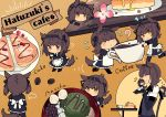 6+girls absurdres animal_ears black_headband bodysuit brown_hair cake chibi closed_eyes coffee commentary_request cup dog_ears dog_tail edel_(edelcat) food full_body hachimaki hair_flaps hatsuzuki_(kantai_collection) headband highres kantai_collection multiple_girls multiple_persona neckerchief pancake short_hair sitting table tail yellow_background
