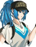 1girl bangs blue_eyes blue_hair camouflage casual earrings hat ikari_hime jewelry leona_heidern looking_at_object serious shirt snk soldier solo t-shirt the_king_of_fighters white_shirt