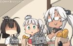/\/\/\ 2others 3girls ahoge akizuki_(kantai_collection) alternate_costume bag bangs black_hair blunt_bangs bread breast_envy breasts budget_sarashi chou-10cm-hou-chan clothes_writing commentary_request dark_skin dated detached_collar food glasses hachimaki hair_between_eyes hair_ribbon hamu_koutarou hat headband highres kantai_collection kikumon large_breasts long_hair maestrale_(kantai_collection) mini_hat multiple_girls multiple_others musashi_(kantai_collection) one_side_up open_mouth paper_bag ponytail ribbon sarashi shaded_face shirt short_hair_with_long_locks silver_hair t-shirt tan twintails two_side_up upper_body upper_teeth white_headwear white_shirt