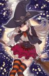 1girl alternate_costume bangs black_capelet black_headwear bow broom bustier capelet chaika_trabant closed_mouth dress_shirt floating_hair full_moon grey_bow hair_between_eyes hare_(haaale) hat hat_bow hitsugi_no_chaika layered_skirt long_hair miniskirt moon neck_ribbon orange_ribbon pleated_skirt red_eyes red_skirt ribbon shirt silver_hair sitting skirt smile solo star_(symbol) striped striped_legwear thigh-highs very_long_hair white_shirt white_skirt witch witch_hat zettai_ryouiki