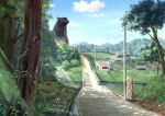 agatuma_spring animal bear bridge building clouds commentary_request day dirt grass highres light_rays mountain no_humans original outdoors rice_paddy rural scenery shade shadow sign sky stream sunbeam sunlight telephone_pole tree water