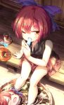 1girl bare_arms bare_legs black_shirt blue_bow bow bucket commentary_request cup disembodied_head drinking_glass eating fan food hair_bow highres holding holding_food imaizumi_kagerou isu_(is88) looking_at_viewer miniskirt one_eye_closed popsicle red_eyes red_skirt redhead sekibanki shadow shirt short_hair sitting skirt soaking_feet solo sweat touhou water