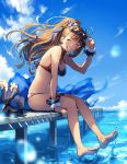 1girl arm_up bare_shoulders barefoot beatrix_(granblue_fantasy) bikini blue_sky blush brown_hair clouds commentary_request day eyewear_on_head feet granblue_fantasy grin hair_ornament hair_ribbon high_ponytail holding holding_eyewear long_hair long_ponytail looking_at_viewer multicolored multicolored_bikini multicolored_clothes navel ocean outdoors pier ribbon sitting sky smile soaking_feet splashing swimsuit thighs toes water wrist_cuffs zinnkousai3850