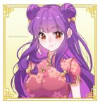 1girl bangs bow breasts china_dress chinese_clothes double_bun dress eyebrows_visible_through_hair hair_bobbles hair_bow hair_ornament large_breasts long_hair looking_at_viewer orange_eyes pink_bow purple_hair ranma_1/2 shampoo_(ranma_1/2) sidelocks smile solo tabby_chan upper_body