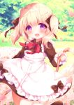 1girl :d animal_ears apron bangs black_bow blonde_hair blush bow brown_bow brown_eyes brown_footwear collared_shirt commentary_request dog_ears eyebrows_visible_through_hair flower frilled_apron frills hair_between_eyes hair_bow haru_ichigo highres holding hose kneehighs long_sleeves looking_at_viewer maid open_mouth original petals pink_flower red_bow shirt shoes smile solo sparkle standing standing_on_one_leg twintails violet_eyes water white_apron white_legwear