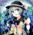 1girl absurdres aqua_eyes bangs black_bow black_frills black_headwear black_neckwear blue_flower blue_nails blue_rose bow eyebrows_visible_through_hair flower frilled_shirt_collar frills green_flower green_rose hair_between_eyes hat hat_ribbon heart heart_eyes highres holding huge_filesize jewelry komeiji_koishi kuro_nasu looking_at_viewer open_mouth ribbon rose shirt short_hair solo third_eye touhou upper_body yellow_ribbon yellow_shirt
