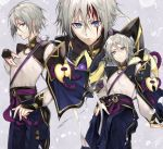 1boy bangs blood blood_on_face blue_eyes blue_pants bridal_gauntlets commentary_request fate/grand_order fate_(series) gao_changgong_(fate) grey_hair hair_between_eyes highres long_sleeves looking_at_viewer male_focus multiple_views pants parted_lips puffy_long_sleeves puffy_sleeves sash sheath shirt short_hair solo tcb white_shirt