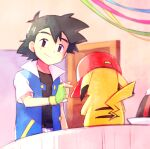 1boy ame_(ame025) ash_ketchum bangs baseball_cap belt black_hair blue_jacket brown_eyes brown_shirt buttons closed_mouth commentary door fingerless_gloves gen_1_pokemon gloves green_gloves hand_up hat hatted_pokemon indoors jacket male_focus open_clothes open_jacket pikachu pokemon pokemon_(anime) pokemon_(classic_anime) red_headwear shirt short_hair short_sleeves smile t-shirt