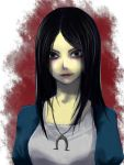 1girl alice:_madness_returns alice_(wonderland) alice_in_wonderland american_mcgee's_alice black_hair closed_mouth dress green_eyes jewelry lipstick long_hair looking_at_viewer makeup necklace smile solo
