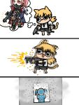 2girls :3 afei_(sfma3248) afterimage ar-15 barefoot black_eyes black_neckwear black_shorts blonde_hair blue_jacket bullet_hole bushman_idw chibi chinese_commentary coat commentary_request dual_wielding emphasis_lines expressionless firing girls_frontline gun highres holding holding_gun holding_weapon holster idw_(girls_frontline) jacket long_hair looking_to_the_side mask multiple_girls necktie open_clothes open_jacket pink_hair red_eyes rifle scope shell_casing shirt short_sleeves shorts sidelocks simple_background smoke solid_circle_eyes st_ar-15_(girls_frontline) standing target thigh_holster thought_bubble twintails v-shaped_eyebrows weapon white_background white_shirt