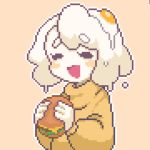 1girl borrowed_character closed_eyes dripping egg egg_(lemyawn) eyebrows_visible_through_hair food hamburger hcnone holding holding_food long_sleeves medium_hair monster_girl open_mouth orange_background orange_sweater original outline pixel_art simple_background slime_girl smile solo sunny_side_up_egg sweater upper_body white_hair white_outline