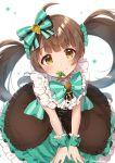 1girl ahoge bangs blurry blush bow bowtie brown_dress brown_eyes brown_hair buttons closed_mouth collared_dress commentary_request cross-laced_clothes depth_of_field dress frilled_dress frilled_shirt_collar frills from_above glint green_bow green_dress green_neckwear green_scrunchie hair_bow hair_ornament hair_scrunchie hakozaki_serika highres idolmaster idolmaster_million_live! layered_dress leaf long_hair looking_at_viewer looking_up mint mokuharu mouth_hold polka_dot polka_dot_bow polka_dot_dress polka_dot_scrunchie scrunchie shiny shiny_hair sleeveless sleeveless_dress smile solo striped striped_bow twintails twitter_username white_background wrist_cuffs