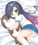 1girl ass bangs bed_sheet beret black_hair blue_bow blue_hairband blue_sailor_collar blue_skirt blush bokukawauso bow closed_mouth commentary_request eyebrows_visible_through_hair feet_out_of_frame frilled_skirt frills gloves gradient_hair green_eyes hair_bow hairband hat hat_removed headwear_removed heart highres kantai_collection kneehighs long_hair lying matsuwa_(kantai_collection) multicolored_hair object_hug on_side panties pleated_skirt puffy_short_sleeves puffy_sleeves purple_hair rinechun sailor_collar school_uniform serafuku shirt short_sleeves skirt smile solo stuffed_animal stuffed_otter stuffed_toy underwear very_long_hair white_gloves white_headwear white_legwear white_panties white_shirt