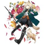 1girl animal_ears arknights bangs black_footwear black_legwear black_shorts black_skirt boots cross-laced_footwear dog dog_ears dog_tail eyebrows_visible_through_hair flower full_body garter_straps gas_mask green_jacket grey_eyes hair_between_eyes holding holding_staff holding_test_tube jacket knee_boots lace-up_boots long_sleeves looking_away mask_around_neck medium_hair official_art open_clothes open_jacket open_mouth petals pink_flower podenco_(arknights) pouch shirt shorts shorts_under_skirt silver_hair skirt staff sutorora tachi-e tail test_tube thigh-highs transparent_background white_shirt yellow_flower