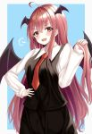 1girl =3 absurdres ahoge arm_up black_skirt black_vest blue_background blush commentary_request cowboy_shot eyebrows_visible_through_hair hair_between_eyes hand_on_hip head_tilt head_wings highres holding holding_hair koakuma kure:kuroha long_hair long_sleeves looking_at_viewer necktie open_mouth partial_commentary red_eyes red_neckwear redhead shiny shiny_hair shirt simple_background skirt sleeves_past_wrists solo standing touhou upper_teeth very_long_hair vest white_shirt