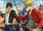 3boys :d bald belt belt_buckle black_hair black_jacket blonde_hair bracelet buckle car character_request collared_shirt denim desert earrings eyewear_removed fate/grand_order fate_(series) forehead_scar gilgamesh grey_shirt ground_vehicle hair_between_eyes hand_on_hip heroic_spirit_traveling_outfit houzouin_inshun_(fate/grand_order) jacket jeep jewelry looking_at_viewer male_focus messy_hair motor_vehicle multiple_boys official_art open_mouth pants partially_unbuttoned red_eyes red_jacket scar shirt short_hair sky smile standing sunglasses tcb white_shirt yellow_eyes zipper
