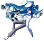 1boy 1girl aqua_eyes aqua_hair aqua_nails aqua_neckwear artist_name bare_shoulders belt black_legwear black_skirt black_sleeves blue_eyes blue_hair blue_nails blue_scarf coat commentary detached_sleeves full_body grey_shirt hair_ornament hatsune_miku headphones headset highres kaito long_hair looking_at_viewer miniskirt nail_polish necktie open_mouth outstretched_arms pants pleated_skirt scarf shirt shoulder_tattoo skirt sleeveless sleeveless_shirt smile tattoo thigh-highs twintails very_long_hair vocaloid white_background white_coat white_footwear yamiluna39 zettai_ryouiki