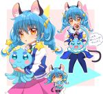 1girl animal_ear_fluff animal_ears bangs blue_gloves blue_hair blue_legwear blue_skirt blush braid brown_eyes cat_ears cat_tail crossed_arms eru eyebrows_visible_through_hair gloves hair_between_eyes holding long_hair miniskirt open_mouth pink_skirt pleated_skirt precure prunce_(precure) shiny shiny_hair sitting skirt star_twinkle_precure tail thigh-highs twin_braids yuni_(precure) zettai_ryouiki
