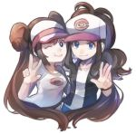 2girls bangs baseball_cap black_vest blue_eyes bow breasts brown_hair closed_mouth commentary_request double_bun hat highres long_hair looking_at_viewer mei_(pokemon) meru_(merumumu) multiple_girls one_eye_closed pink_bow poke_ball_print pokemon pokemon_(game) pokemon_bw pokemon_bw2 ponytail pout raglan_sleeves shirt sidelocks smile tank_top touko_(pokemon) twintails very_long_hair vest visor_cap w white_background