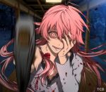 1girl artist_name axe blood bloody_clothes commentary covering_one_eye crazy_eyes gasai_yuno hair_between_eyes hand_on_own_face highres holding holding_axe long_hair looking_at_viewer mirai_nikki night open_mouth pink_eyes pink_hair pov solo tcb upper_body yandere