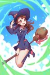 1girl absurdres artist_name bangs broom broom_riding brown_hair dress hat highres kagari_atsuko kezi little_witch_academia long_hair luna_nova_school_uniform open_mouth red_eyes school_uniform solo witch witch_hat