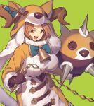 1girl :d ball_and_chain bell blue_neckwear bow bowtie breasts brown_eyes brown_gloves brown_hair character_request copyright_request cow_bell curled_horns gloves green_background holding holding_weapon hood hood_up horn_bow horns kotoribako large_breasts long_sleeves looking_at_viewer neck_bell open_mouth simple_background smile solo weapon