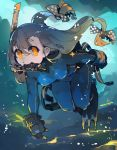 1girl bangs bodysuit bow breasts brown_hair bubble diving_mask diving_regulator flippers gloves hair_bow highres large_breasts long_hair looking_at_viewer minmin_(neko4339) original scuba scuba_gear skin_tight solo swimsuit water wetsuit yellow_eyes