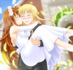 2girls alternate_costume blonde_hair blush brown_hair carrying church closed_eyes couple dress fate_testarossa formal happy highres kiss long_hair lyrical_nanoha mahou_shoujo_lyrical_nanoha mahou_shoujo_lyrical_nanoha_strikers mahou_shoujo_lyrical_nanoha_vivid misumi_takasumi multiple_girls open_mouth princess_carry smile suit takamachi_nanoha tuxedo very_long_hair wedding wedding_dress yuri