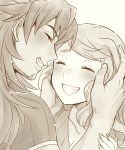 1boy 1girl blush closed_eyes collarbone couple dande_(pokemon) greyscale grin long_hair monochrome nokataro pokemon pokemon_(game) pokemon_swsh smile sonia_(pokemon) upper_body