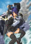 1girl black_gloves black_jacket blue_sky breast_pocket breasts checkered checkered_neckwear clouds commentary_request eyepatch fur-trimmed_jacket fur_trim gloves headgear highres jacket kantai_collection large_breasts machinery mrdotd necktie partly_fingerless_gloves pocket purple_hair short_hair sky solo sword tenryuu_(kantai_collection) thigh-highs water weapon yellow_eyes