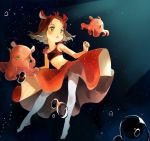 1girl air_bubble bare_arms bare_shoulders bubble crop_top flapjack_octopus flat_chest floating_hair green_eyes masuda_(yousaytwosin) medium_hair navel original pantyhose parted_lips personification red_skirt skirt solo underwater white_legwear
