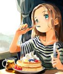 1girl blue_eyes brown_hair curtains eating food fork fruit holding holding_fork holding_knife knife long_hair looking_at_viewer masuda_(yousaytwosin) original pancake plate shirt short_sleeves solo strawberry striped striped_shirt syrup window