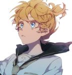 1boy bass_clef black_sailor_collar blonde_hair blue_sky close-up clothes_lift clouds cloudy_sky day eiku eyebrows_visible_through_hair face floating_hair hair_between_eyes high_ponytail kagamine_len leaning leaning_back looking_afar male_focus musical_note parted_lips ponytail reflection reflective_eyes sailor_collar shaded_face shirt short_ponytail simple_background sky tareme upper_body vocaloid white_background white_shirt wide-eyed yellow_neckwear