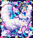 1girl ;d abstract_background akihorisu altaria aqua_hair armpits asymmetrical_hair bangs bare_shoulders blue_choker blue_footwear blush choker collarbone commentary_request crop_top drop_shadow earrings eyebrows_visible_through_hair full_body fur_trim gen_3_pokemon groin hair_ornament hand_on_hip highres idol jewelry long_hair looking_at_viewer lucia_(pokemon) midriff navel notice_lines one_eye_closed open_mouth pokemon pokemon_(creature) pokemon_(game) pokemon_oras ponytail shoes shorts showgirl_skirt sidelocks single_thighhigh skindentation smile standing starry_background striped striped_legwear thigh-highs twitter_username upper_teeth v white_shorts