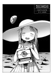 1girl :d absurdres blush border camera child closed_eyes coordinates dress earth eyebrows_visible_through_hair facing_viewer greyscale hat highres long_hair masuda_(yousaytwosin) monochrome moon open_mouth original smile solo space standing sun_hat sundress white_border