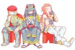 3boys assassin's_creed_(series) assassin's_creed_ii beard beret bravely_default:_flying_fairy bravely_default_(series) crossover facial_hair gloves hat headband ikuma_naerik leonardo_da_vinci long_hair male_focus multiple_boys nishihara_isao redhead renaissance_clothes sitting tales_of_(series) tales_of_symphonia yawning zelos_wilder
