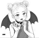 1girl :d bat_wings blush child choker dot_nose double_bun fangs fingernails greyscale hands_up looking_at_viewer masuda_(yousaytwosin) monochrome open_mouth original shirt simple_background smile solo upper_body vampire white_background wings