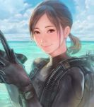 1girl bodysuit brown_eyes brown_hair day diving_mask looking_at_viewer mask mask_removed ocean original short_twintails sky smile solo suetomi_masanao swimsuit twintails watch water wetsuit