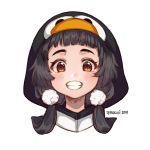 1girl animal_costume black_hair blush brown_eyes commentary english_commentary hood hood_up looking_at_viewer low_twintails original penguin_costume pom_pom_(clothes) simple_background smile solo temachii twintails white_background