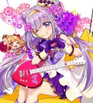 1girl ;) aisaki_emiru asymmetrical_sleeves bangs character_doll double_bun eru eyebrows_visible_through_hair frilled_gloves frills gloves guitar headset hugtto!_precure instrument long_hair looking_at_viewer microphone miniskirt one_eye_closed pleated_skirt precure purple_gloves purple_hair purple_skirt ruru_amour shiny shiny_hair sitting skirt smile solo twintails very_long_hair violet_eyes
