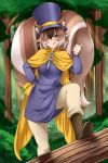 1girl ;) a_hat_in_time animal_ear_fluff animal_ears beige_pants boots breasts brown_hair cape closed_mouth commission cosplay ears_through_headwear eyebrows_visible_through_hair forest hair_between_eyes hand_on_hip hat hat_kid hat_kid_(cosplay) lindaroze long_sleeves looking_at_viewer monster_girl_encyclopedia nature one_eye_closed original pants purple_headwear ratatoskr_(monster_girl_encyclopedia) short_hair smile solo squirrel_ears squirrel_girl squirrel_tail tail thumbs_up tongue tongue_out top_hat tree yellow_cape zipper_pull_tab