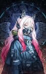 1girl animal_ears bangs blue_eyes blue_jacket camouflage commentary_request eyebrows_visible_through_hair fake_animal_ears feathered_wings gradient_hair grey_wings headpiece highres hood hood_down jacket looking_at_viewer multicolored_hair okuma_mai original pink_hair purple_hair respirator signature skeleton skull solo standing upper_body wings