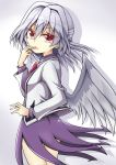 1girl aki_chimaki bangs bow bowtie braid dress eyebrows_visible_through_hair french_braid gradient gradient_background grey_wings hair_between_eyes jacket kishin_sagume long_sleeves looking_at_viewer open_mouth purple_dress red_bow red_eyes red_neckwear short_hair silver_hair single_wing solo suit_jacket touhou vest white_vest wings