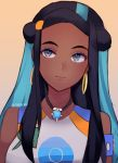 1girl black_hair blue_eyes blue_hair closed_mouth commentary dark_skin earrings english_commentary eyeliner head_tilt highres hoop_earrings jewelry makeup multicolored_hair necklace poke_ball_print pokemon pokemon_(game) pokemon_swsh rurina_(pokemon) signature smile solo temachii two-tone_hair upper_body yellow_background