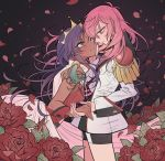 2girls aiguillette bindi blue_eyes crown dark_skin dress epaulettes flower green_eyes hand_on_another's_face highres holding_hands long_sleeves multiple_girls official_alternate_costume petals pink_hair purple_hair red_flower red_rose rosarian666 rose rose_petals shoujo_kakumei_utena shoujo_kakumei_utena_adolescence_mokushiroku sleeveless wrist_cuffs